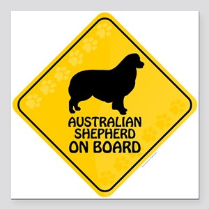 Australian Shepherd On Board Square Car Magnet 3""