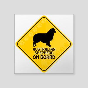 """Australian Shepherd On Board Square Sticker 3"""" x 3"""