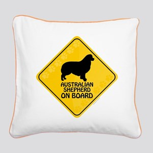 Australian Shepherd On Board Square Canvas Pillow