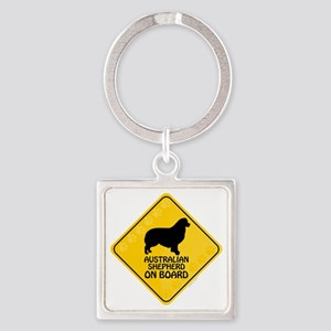 Australian Shepherd On Board Square Keychain