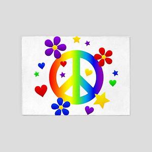 Rainbow Peace Sign 5'x7'Area Rug