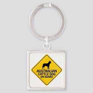 Cattle Dog On Board Square Keychain