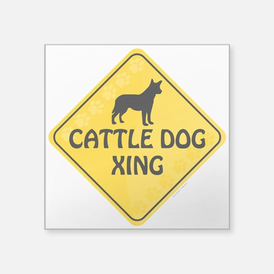 "Cattle Dog Xing Square Sticker 3"" x 3"""