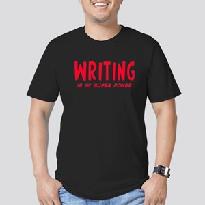 Super Power: Writing Men's Fitted T-Shirt (dark)