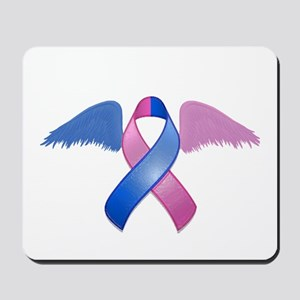 Miscarriage Awareness Ribbon with Wings Mousepad