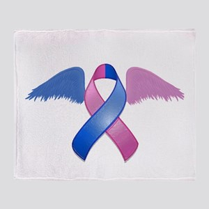 Miscarriage Awareness Ribbon with Wings Throw Blan