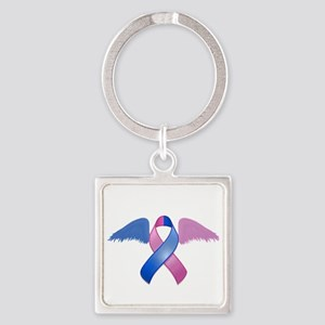 Miscarriage Awareness Ribbon with Wings Square Key