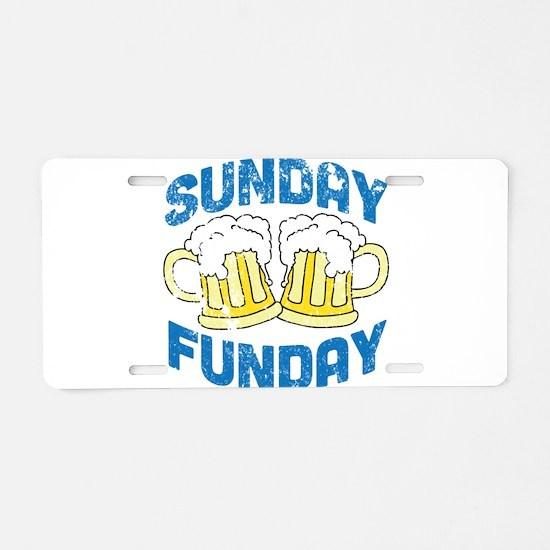 Sunday Funday Vintage Aluminum License Plate
