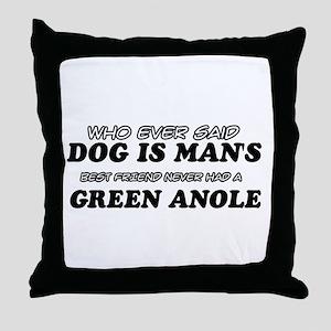 Green Anole Designs Throw Pillow