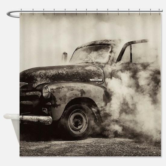 Burnout Pit Truck Shower Curtain