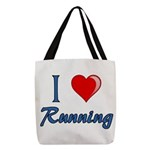 I Heart Running Polyester Tote Bag