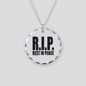 R.I.P. REST IN PEACE Necklace Circle Charm