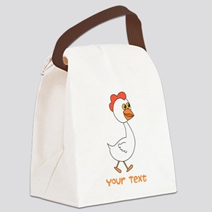 Chicken and Text. Canvas Lunch Bag