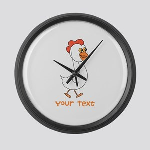 Chicken and Text. Large Wall Clock