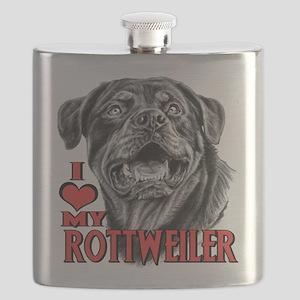 Rottweiler Sketch Flask