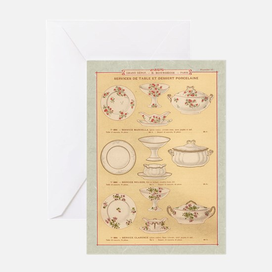 Vintage French Porcelain Greeting Card