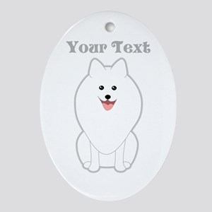 Cute Dog with Text. Spitz. Ornament (Oval)