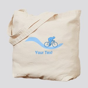 Cyclist in Blue. Custom Text. Tote Bag