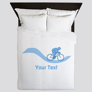 Cyclist in Blue. Custom Text. Queen Duvet