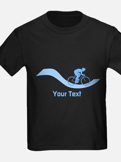 Cyclist in Blue. Custom Text. T-Shirt