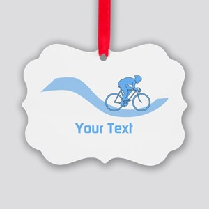 Cyclist in Blue. Custom Text. Ornament