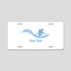 Cyclist in Blue. Custom Text. Aluminum License Pla