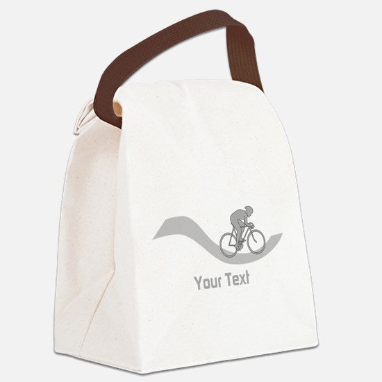 Cyclist in Gray. Custom Text. Canvas Lunch Bag
