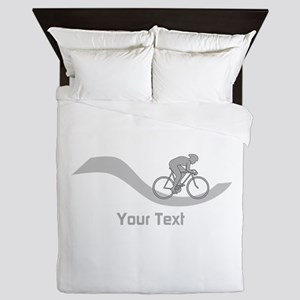 Cyclist in Gray. Custom Text. Queen Duvet