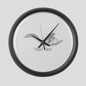Cyclist in Gray. Custom Text. Large Wall Clock