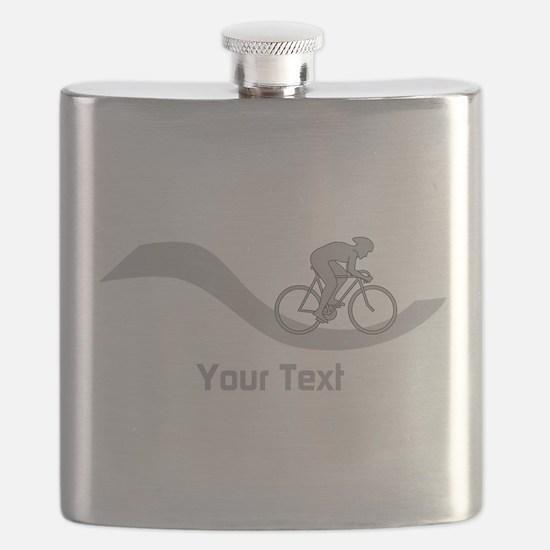 Cyclist in Gray. Custom Text. Flask