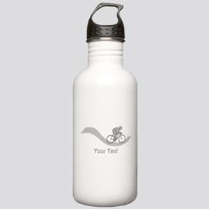 Cyclist in Gray. Custom Text. Water Bottle
