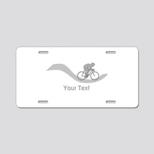 Cyclist in Gray. Custom Text. Aluminum License Pla