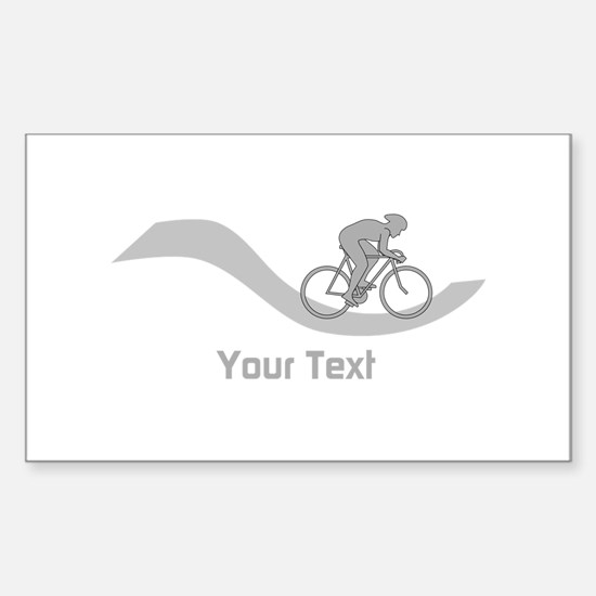 Cyclist in Gray. Custom Text. Decal