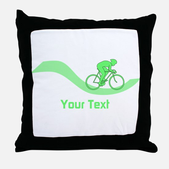 Cyclist in Green. Custom Text. Throw Pillow