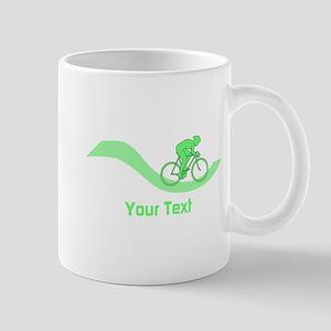 Cyclist in Green. Custom Text. Mug