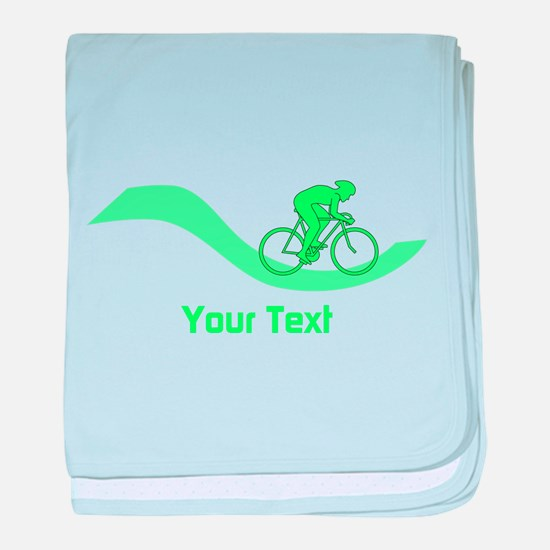 Cyclist in Green. Custom Text. baby blanket