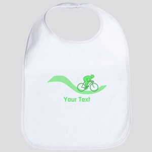 Cyclist in Green. Custom Text. Bib