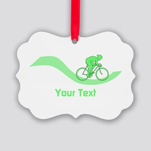 Cyclist in Green. Custom Text. Ornament