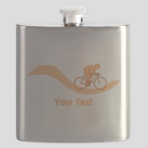 Cyclist in Orange. Custom Text. Flask