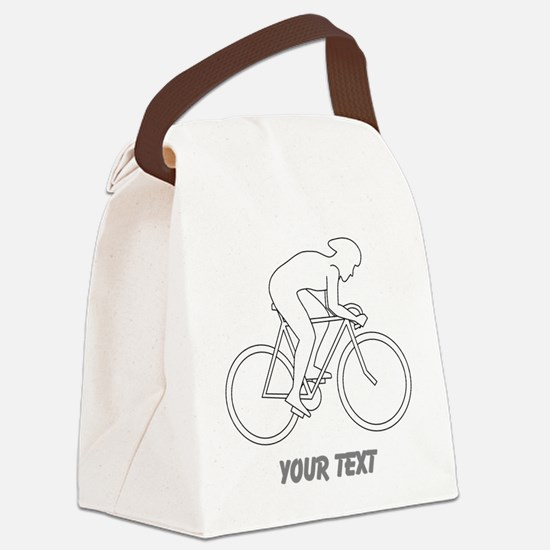 Cycling Design and Text. Canvas Lunch Bag