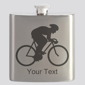 Cyclist Silhouette with Text. Flask