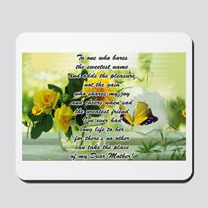 Mothers Day Poem with Roses and Butterfly Mousepad