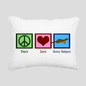Peace Love Honey Badgers Rectangular Canvas Pillow