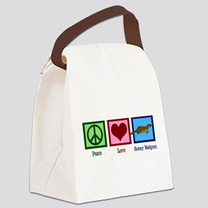 Peace Love Honey Badgers Canvas Lunch Bag