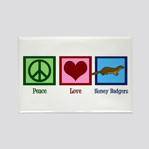 Peace Love Honey Badgers Rectangle Magnet