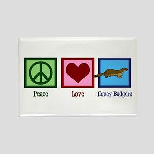 Peace Love Honey Badgers Rectangle Magnet