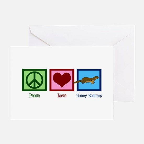 Peace Love Honey Badgers Greeting Card