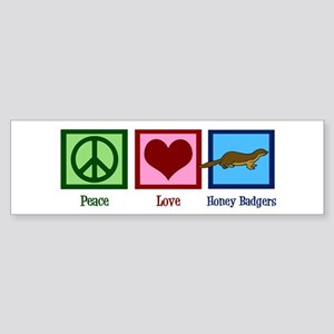 Peace Love Honey Badgers Sticker (Bumper)