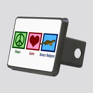 Peace Love Honey Badgers Rectangular Hitch Cover