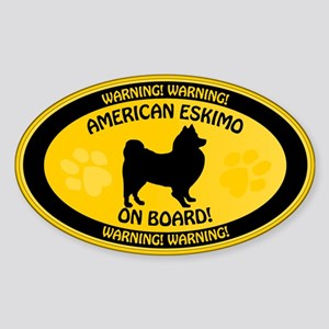 American Eskimo On Board Sticker (Oval)